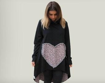 Black cotton loose tunic/ women black hooded tunic/  women tunic with heart applique/ heart design tunic/ asymmetric tunic/ animal print top