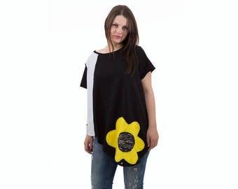 Black organic cotton top/ open back balack top/ women black top with flower/ summer women top/ asymmetric cotton top/ cotton loose top