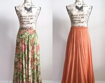 Vintage Long Skirt, Reversible Skirt, Spring Skirt, Summer Skirt, Vintage Maxi Skirt, Floral Maxi Skirt