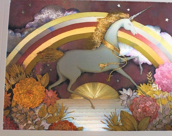 Vintage DUFEX FOIL Art Print Rainbow Unicorn ~ Printed in England ~ Fantasy Art ~ Shimmering Colored Foil Catches the Light ~ Enchanting