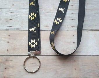 Deer Lanyard - ID badge holder, Nametag holder, Party favor, Gift, deer print, lanyard, preppy lanyard