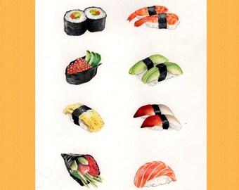 Original Sushi Art, A4 Food Painting, Kitchen Wall Art, Japanese Food Art, Sushi Lover Gift, Food Art Decor, Illustrated Food, Foodies Gift