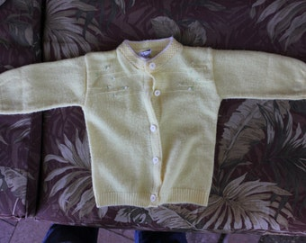 1960's Vintage Yellow Orlon Baby Sweater 3-6 Month? (not on tag) - fair to good condition