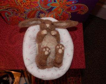 Needle Felt Bunny + Bed Handmade OOAK Original 100% Wool