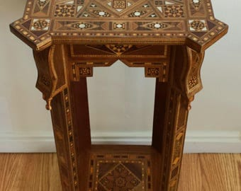 Side table, inlaid table, Mosaic Syrian Table, marquetry table, Entryway table, wood table, wood Table, Carved wood table, Wooden decor