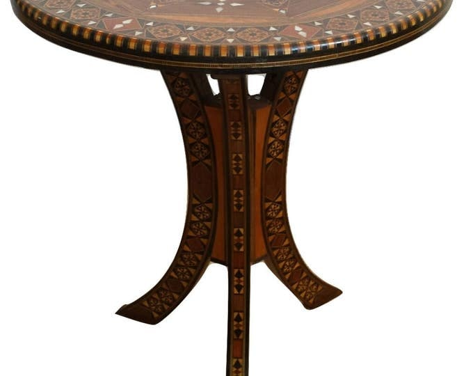 Side table, Tea table, Mosaic Syrian Table, Coffee table, Entryway table, wood table, Inlais wood Table, Carved wood table, Wooden decor