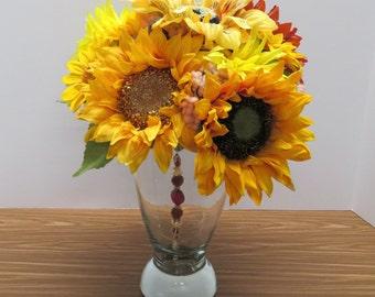 Handmade Home Decor,Floral Arrangement Centerpiece- Multi Color Red and Yellow Sunflower Floral Arrangement