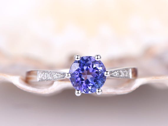 Natural Blue AAA Tanzanite Engagement Ring,6.5mm Round Cut 1.15ct Tanzanite Ring,Diamond Matching Band,Diamond Ring,6 Prongs,14K White Gold