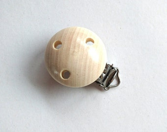 Wooden clip, wooden pacifier clip, wood, round, bead, natural wood, splinter free, made in Austria, haberdashery