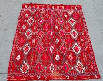 vintage brocaded kilim rug 117x86 cm  3.8x2.8 feet,kilim embrodery,wool kilim rug,turkish kilim,interior design kilim