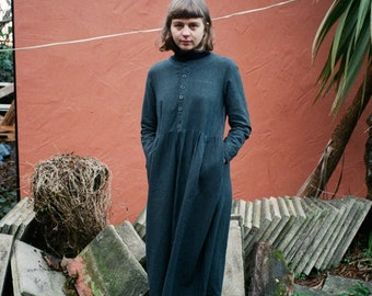 The ARTEMIS Dress: Collarless button down charcoal washed linen with side pockets and long skirt