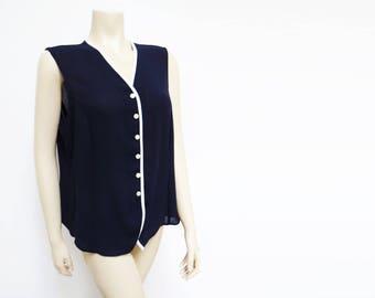 Curvy Girl 90s Navy Buttoned Top, UK18, Tank, Vest, Retro Tank, Nautical, Vintage Clothing, Ladies, Festival Clothing
