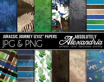 Jurassic Journey Digital Papers - Personal & Commercial Use - Dinosaur Paper, Boys Fossil Graphics, Park Patterns, Party Scrapbook Page Kit