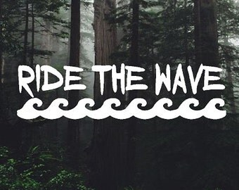 Surfing Ride The Wave Vinyl Sticker Decal