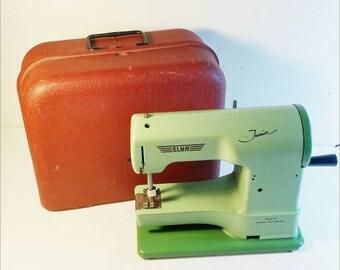Elna Junior Toy Sewing Machine In Original Box 1950s Tin Toys
