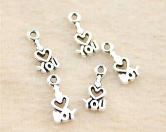 15 Tiny Love Charm Antique Silver Tone I Love You Charm Bracelet Bangle Bracelet Pendants #29