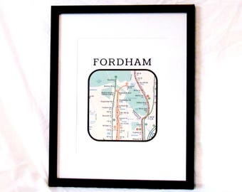 Fordham University Neighborhood Travel Print NYC Subway Map Digital Wall Art NYC Subway Print Bronx Fordham Instant Download