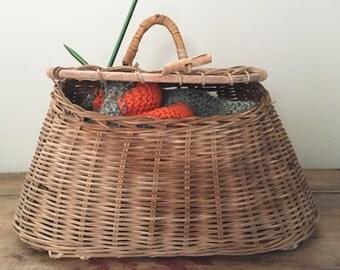 Vintage hand woven fishing creel, wicker basket