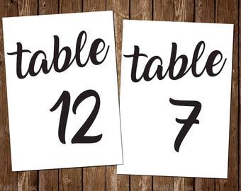 Printable Table Numbers / 1-50 / black & white