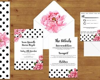 VALENTINE'S COLLECTION Pink Peony Polka Dot Fashion Wedding Invitations Stationery Set - Printed or Digital Download - Wedding Printable