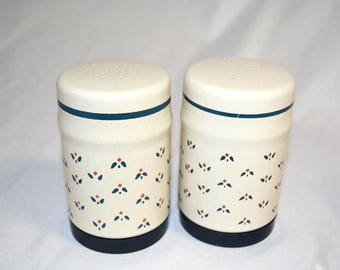 Vintage Kromex Country Flower Aluminum Salt and Pepper Shakers