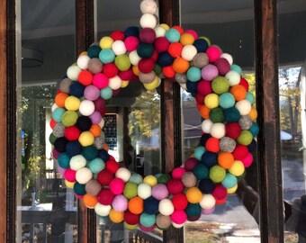 Colorful Felt Ball Holiday Wreath