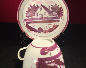 Antique Staffordshire Cottage Pattern Pink Lustre Tea Cup and Bowl c1820