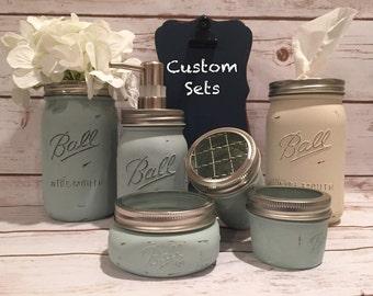 Chalk Painted Mason Jar Bathroom Set  Tissue Holder, Tooth brush holder, cotton balls, qtips, soap dispenser, Flower Vase, Ball Mason Decor