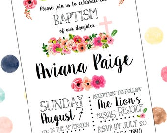 Floral Flowers Baptism Invitation for Girls, Cross
