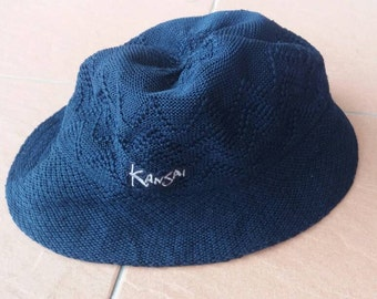 Vintage Kansai Mini hat knit spellout embroidery/dark blue/made in japan/22.5inch