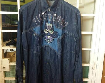 Vintage Ficce Uomo shirt button down spellout embroidery /blue/medium
