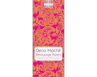 Indian Paisley Pattern Pink Decoupage Papers x 3 - First Edition