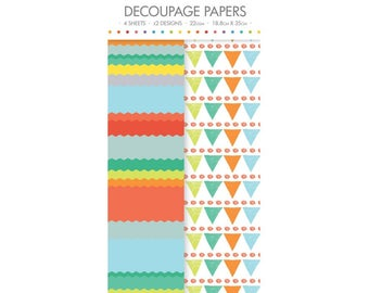 Bright Bunting Pattern Decoupage Papers x 4 - Simply Creative