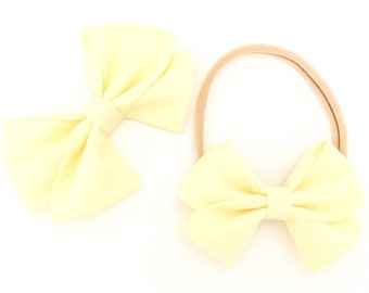 Signature Bow in Butter - Girls Fabric Bow - Baby Girl Headband - Toddler Bow - Baby bow - Choose Nylon Headband or Clip