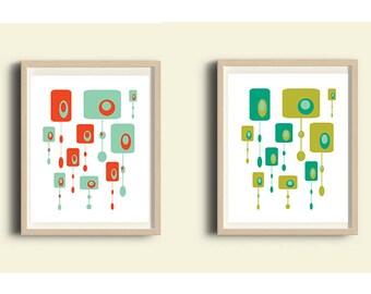 Mid Century art, printable art, art set of 2, abstract art print, modern wall art, living room decor, abstract minimalist art, retro art set
