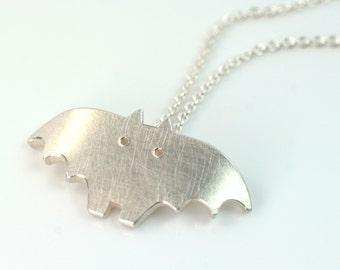 Pendant bat 925 Silver necklace unique animal pendant FangFrisch designer jewellery hand made in germany