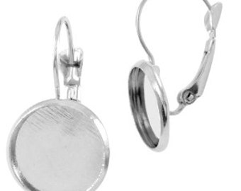 Earrings for cabochon (12 mm) - silver - 20 mm / 12 mm