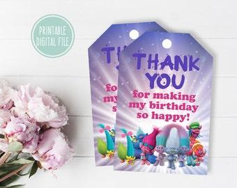 Birthday thank you tag, Party Favor Tag, Trolls thank you tags, Trolls favor tags, Trolls gift tags, Birthday favor tag, Birthday gift tag