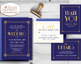 Art Deco Wedding Invitation Set, Great Gatsby Invitation, Navy and Gold Wedding, 1920 style, Printable wedding invite, Deco style wedding
