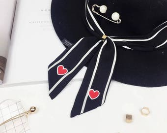 bow tie ribbons, neck scarf, cute style neck scarf, scarf ring, heart scarf