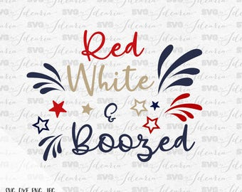 Red White and Boozed, 4th of July Svg, Patriotic Svg, Summer Svg, Monogram Frames Svg, fourth of july svg, memorial day, free American flag