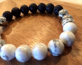 Lava Stone Beaded Essential Oil Diffuser Bracelet Hematite & Howlite
