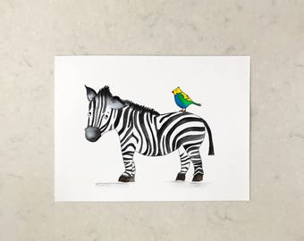 Zebra and his friend A4 print