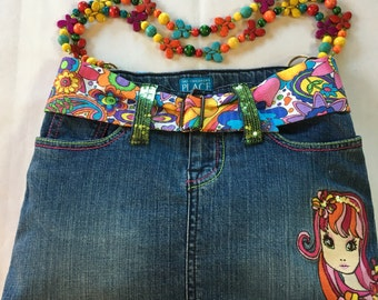Denim Purse with Colorful Beaded Handles and Matching Coin Purse