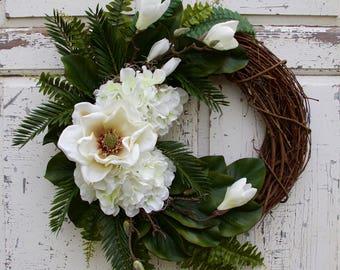 Monogram Wreath, Magnolia Wreath, Hydrangea Wreath, Southern Wreath, Year Round Wreath, Spring Wreath, Summer Wreath, Door Wreath