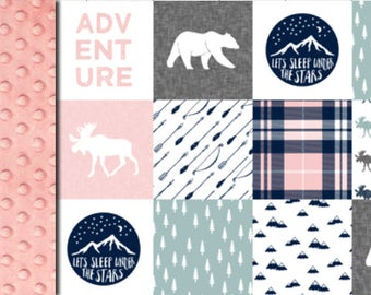 Baby minky blanket, Adventure girl blanket, moose bear pink grey black blanket woodland blanket, baby shower gift, birth, children blanket