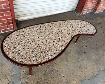 Kitschy Vintage MidMod Mosaic Tile Kidney Bean Coffee Table