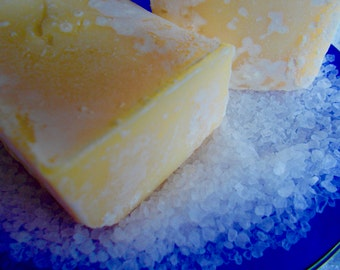 Lemon Sea Salt Soap, Cold Process, Lemongrass Essential Oil, Palm Free, Salt Scrub Soap, All Natural, Vegan, Natural Bath and Beauty