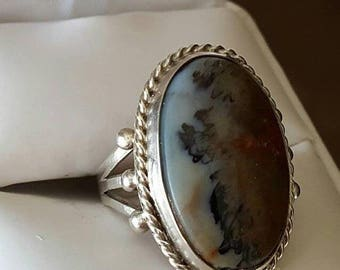 Vintage Sterling Silver Agate Ring Size 8