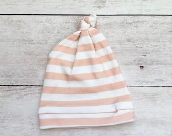 Newborn Hat - Baby Hat - Organic Baby Hat - Striped Baby Hat - Knot Baby Hat - Coral and White Striped Baby Hat